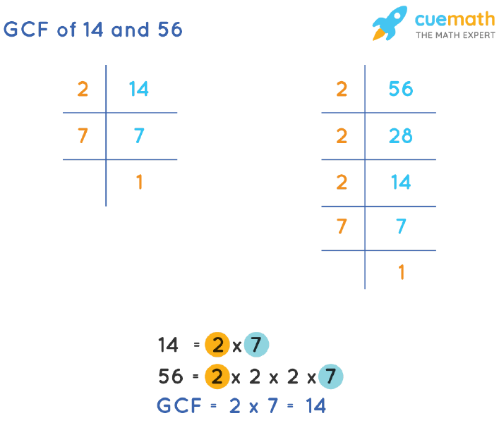 GCF of 14 and 56 by Prime Factorization
