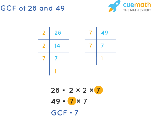 GCF of 28 and 49 by Prime Factorization