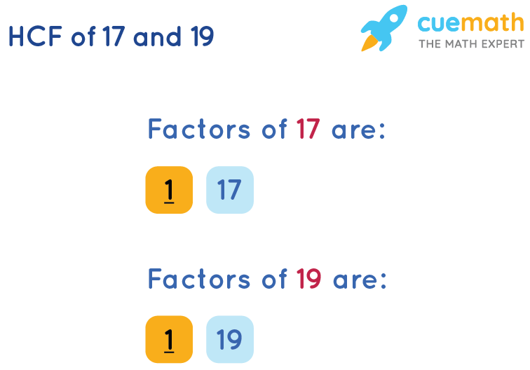 HCF of 17 and 19 by Listing Common Factors