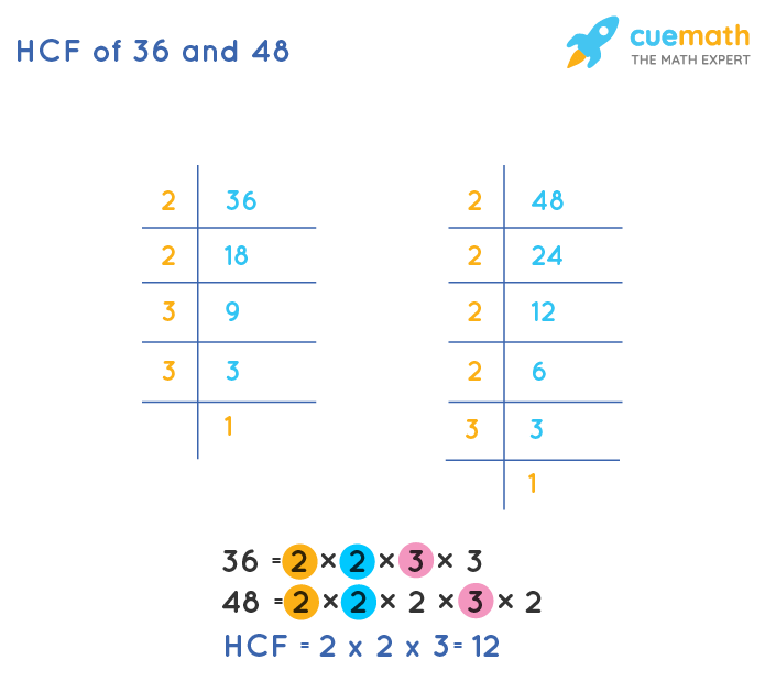 HCF of 36 and 48 by Prime Factorization
