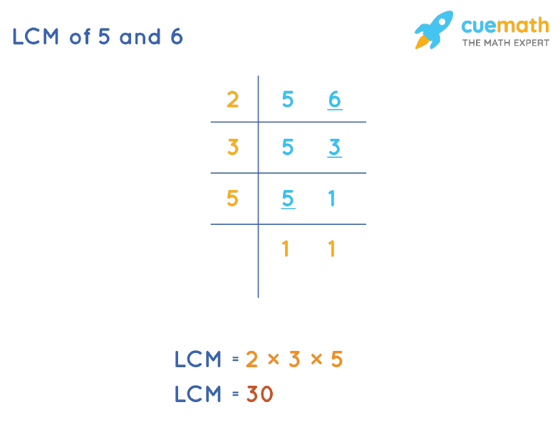 LCM of 5 and 6 by Division Method