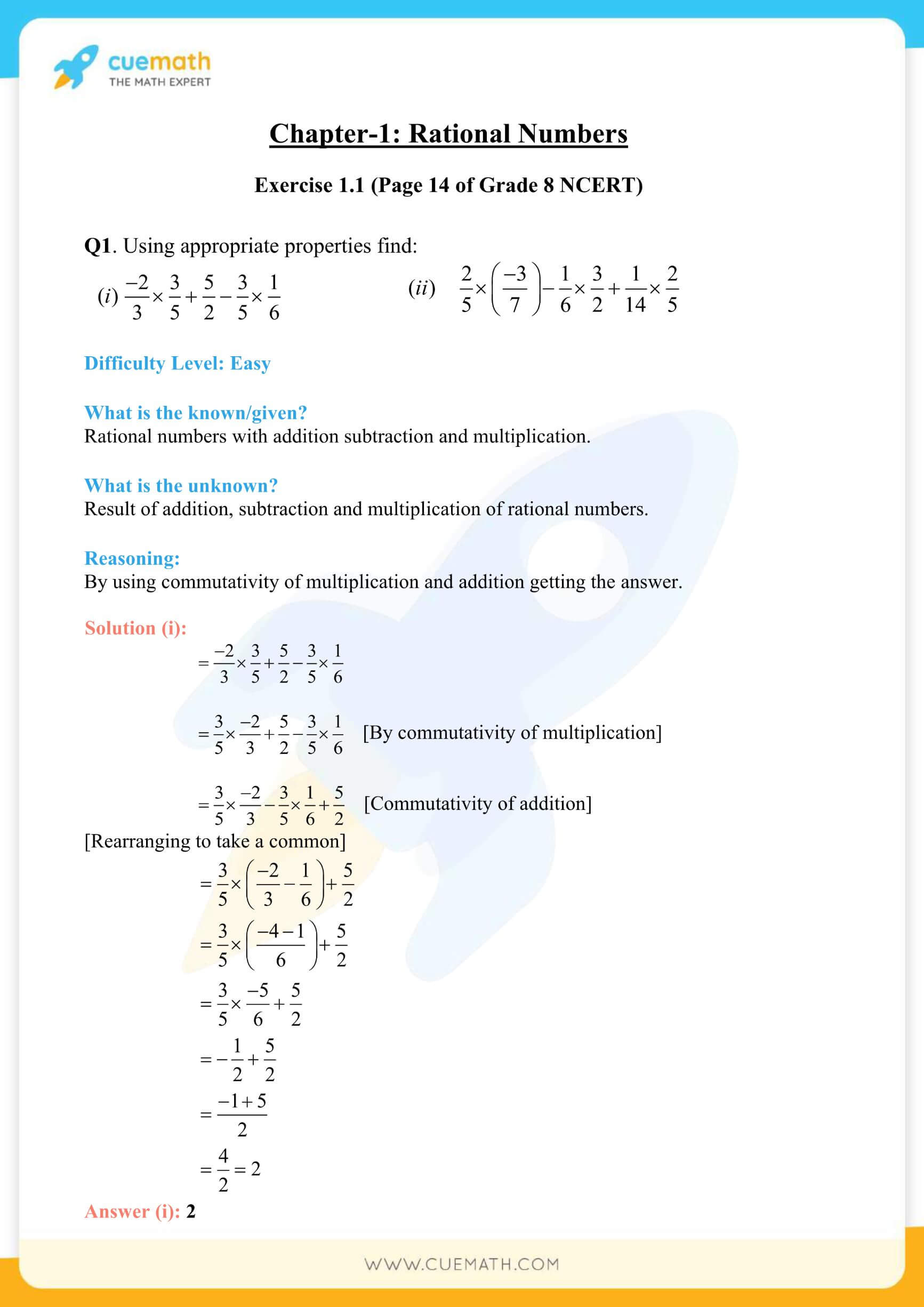 NCERT Solutions Class 8 Math Chapter 1 Rational Numbers 1