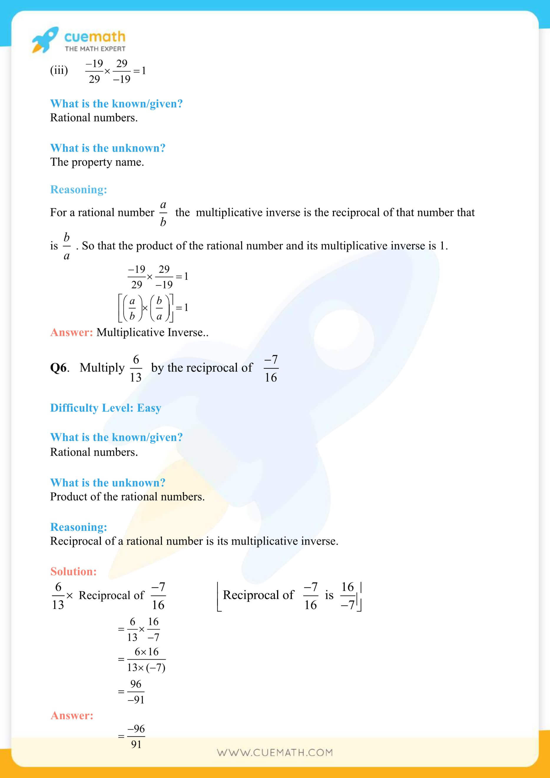 NCERT Solutions Class 8 Math Chapter 1 Rational Numbers 7
