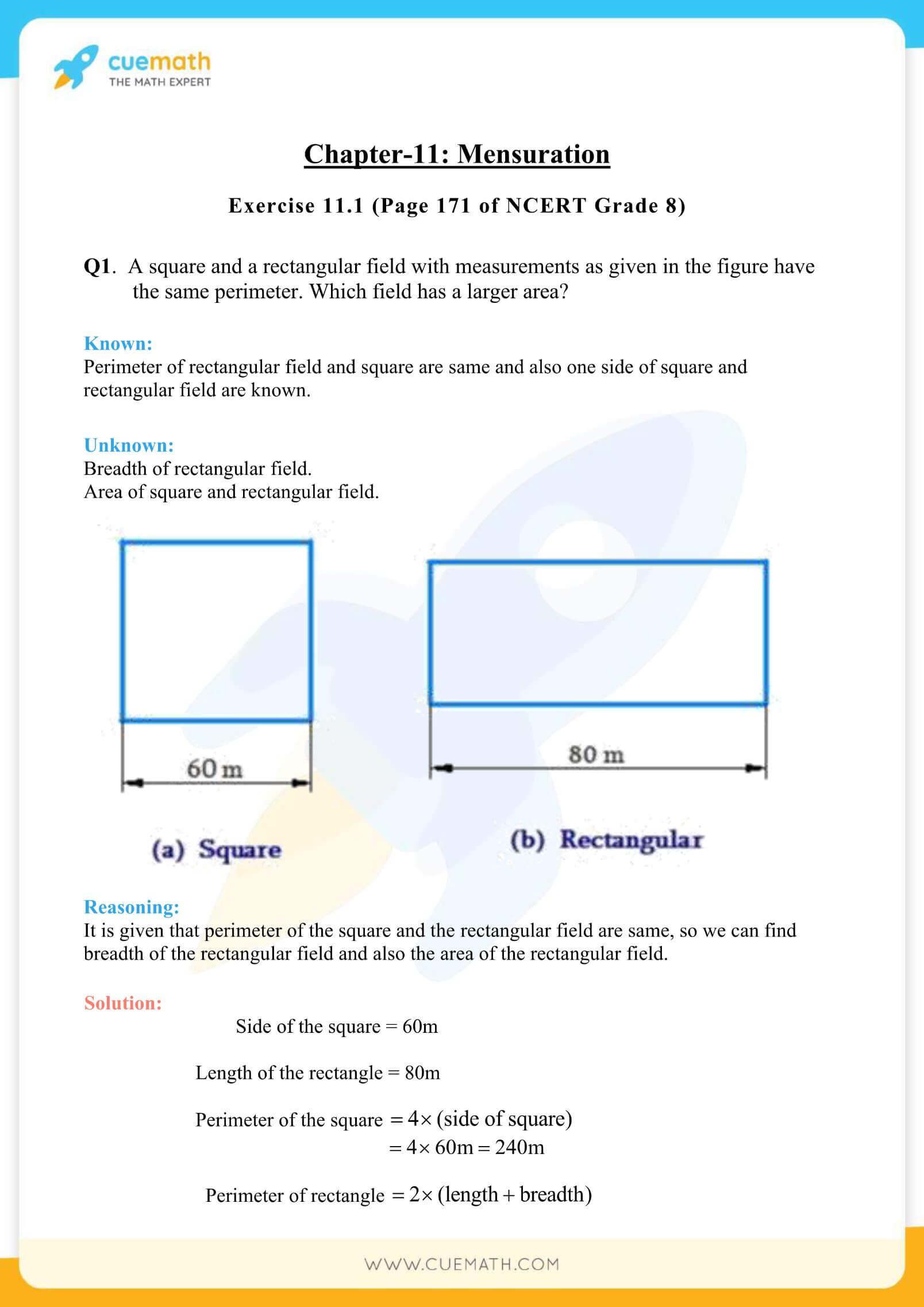 NCERT Solutions Class 8 Math Chapter 11 Mensuration 1