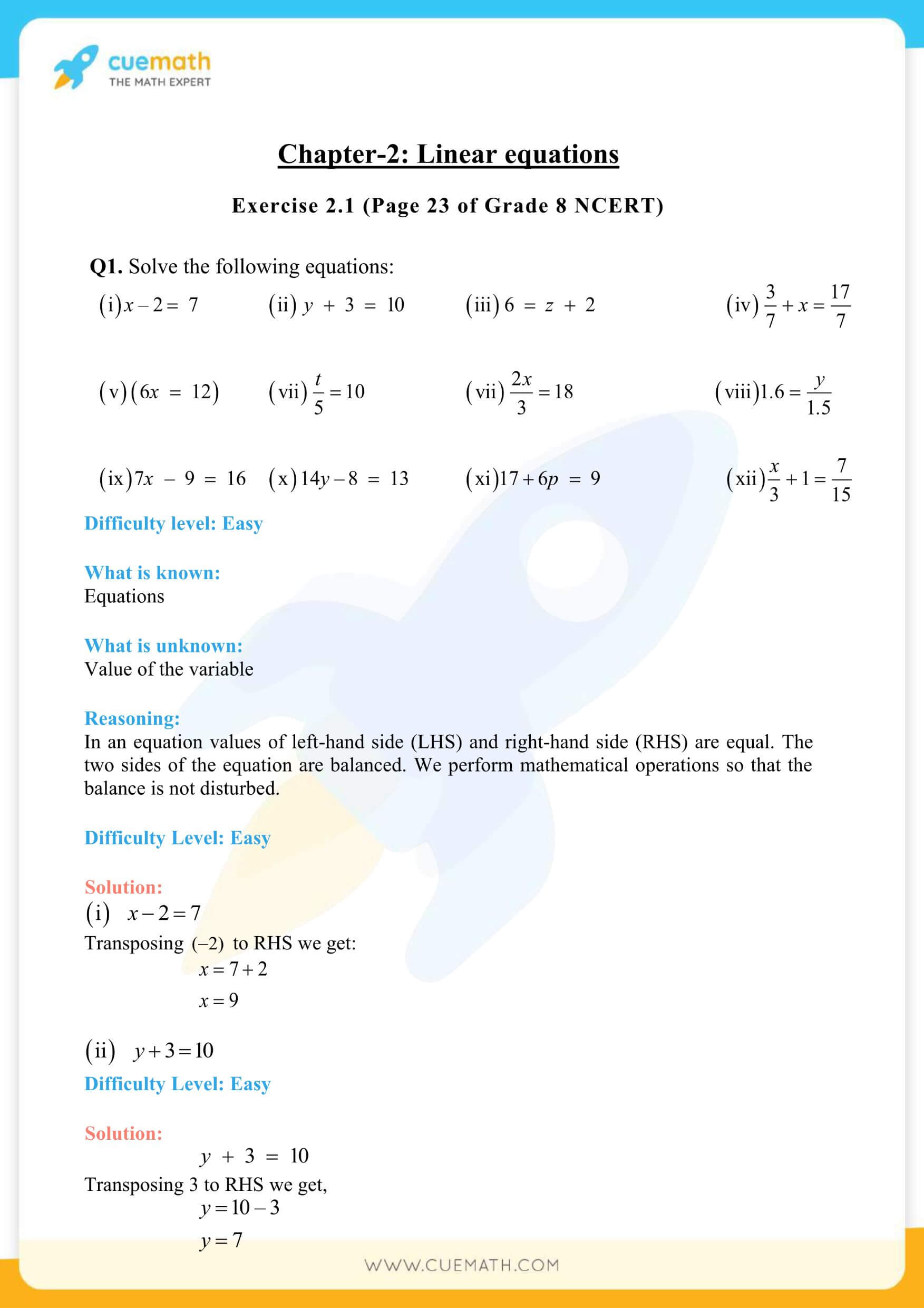 NCERT Solutions Class 8 Math Chapter 2 Exercise 2.1 1