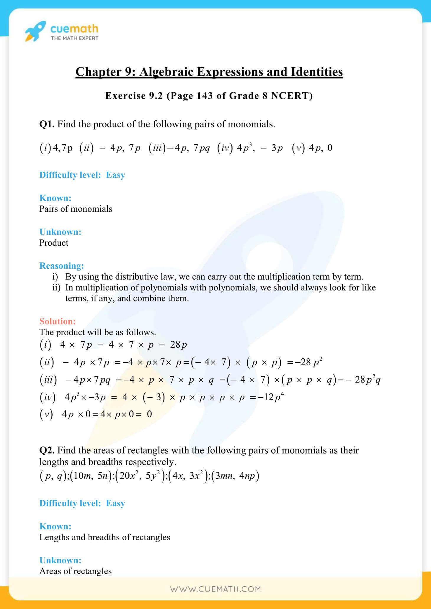 NCERT Solutions Class 8 Math Chapter 9 Algebraic Expressions And Identities 6