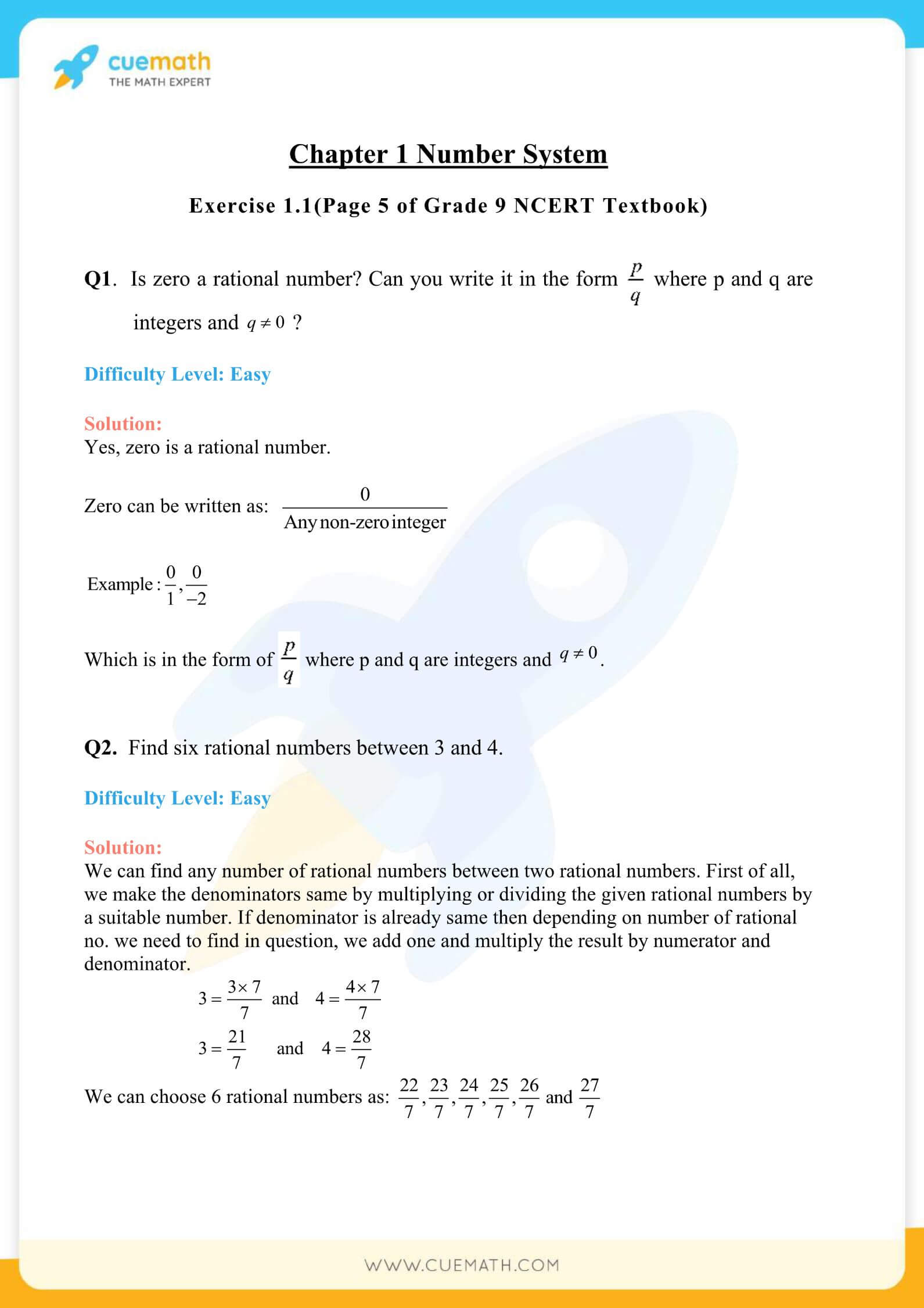 NCERT Solutions Class 9 Math Chapter 1 Exercise 1.1 1
