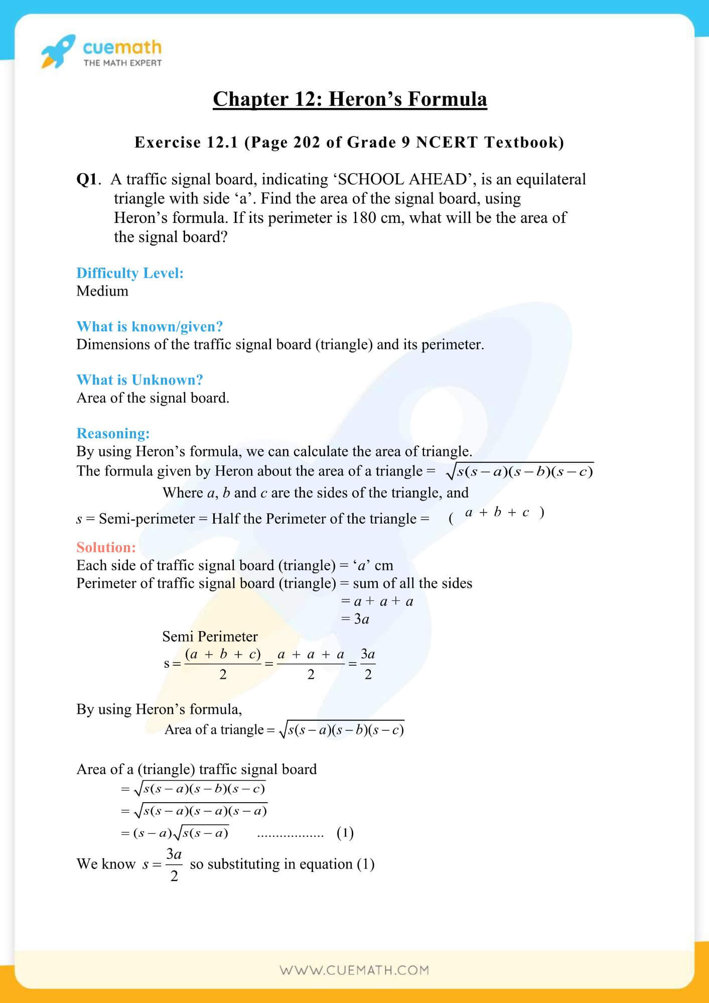 NCERT Solutions Class 9 Math Chapter 12 Exercise 12.1 1